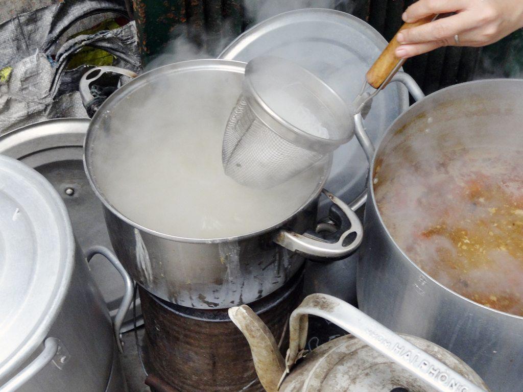 Preparing Noodles for Bun Rieu Cua