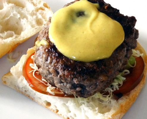 Delectable Burger with Honey Mustard