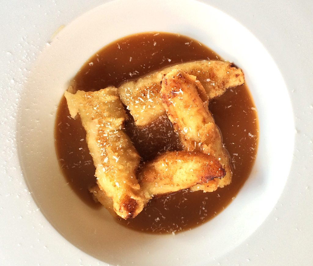 Tempura Banana with Palm Sugar and Coconut Caramel Sauce