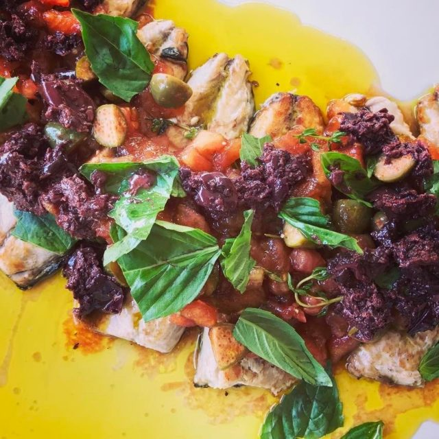 Panfried mackerel with tomato and caper vinaigrette olive paste andhellip