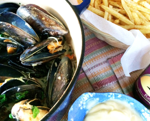 Moules Frites and Leffe