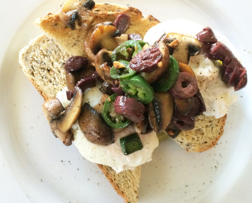 Poached Eggs with Mushroom, Olives and Jalapeno 2