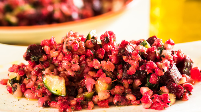 Beetroot, Blackeyed Peas and Pearl Barley Salad